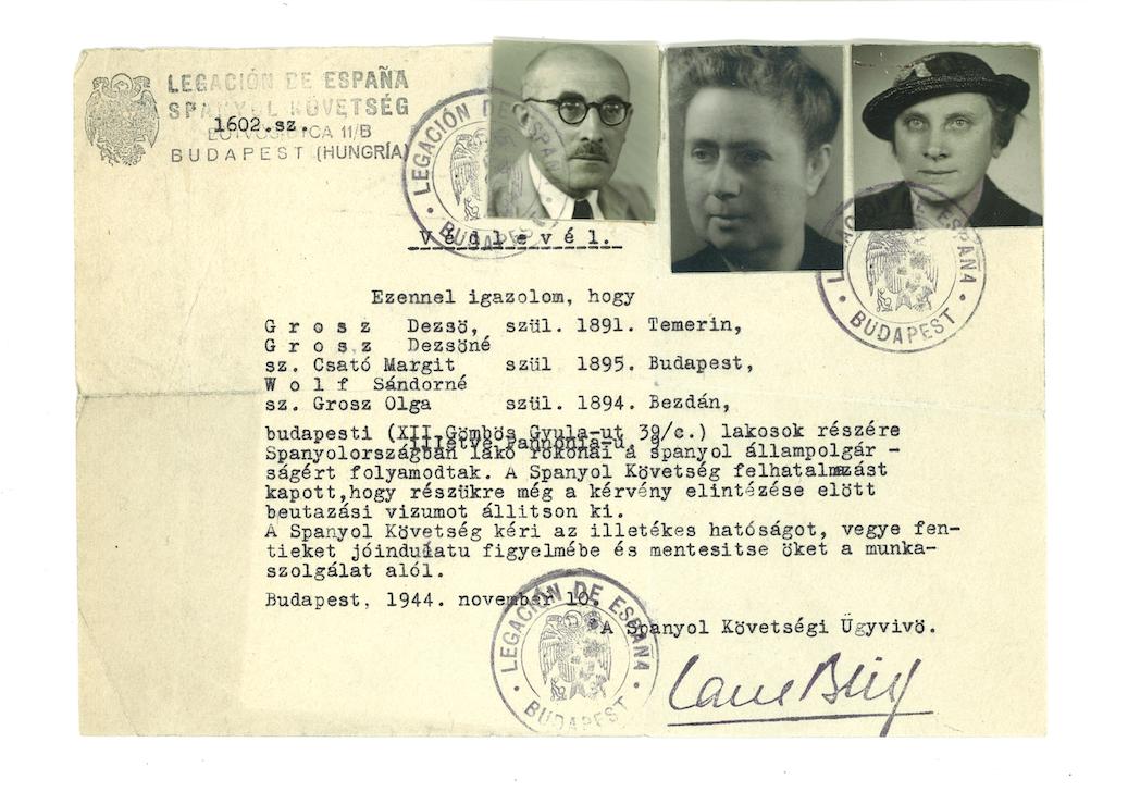Carta de protección expedida por la Legación de España en Budapest en noviembre de 1944.