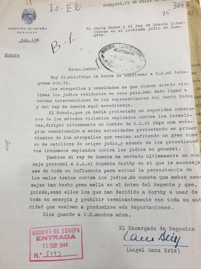 Informe por Sanz Briz sobre la persecución de judíos