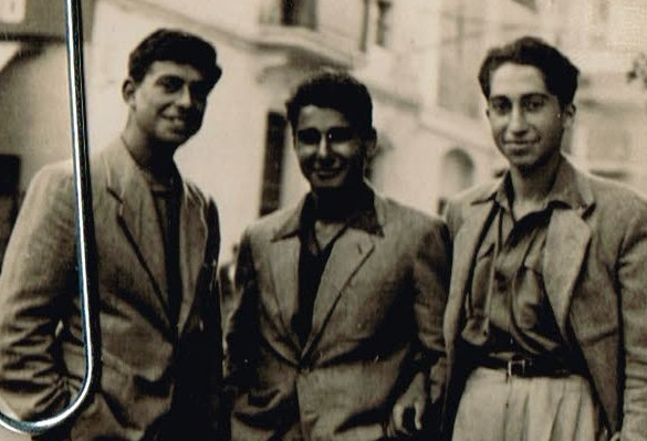 Mandred Bundheim y otros dos refugiados judíos en la ciudad de Lleida. Junio de 1944. (Joseph Ben Brith).
