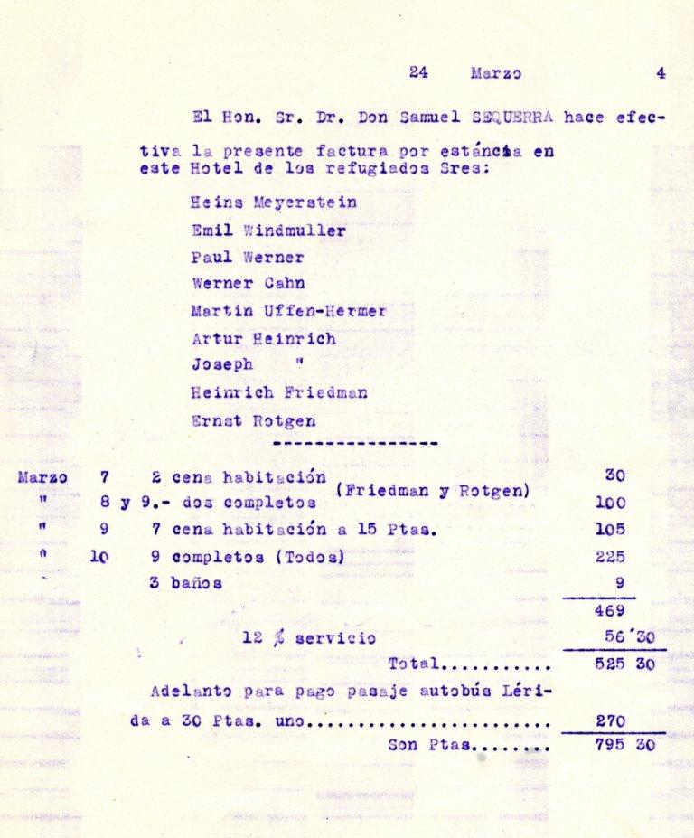 Documento de pago, a cargo de Samuel Sequera, representante del American Joint Distribution Comittee, de la factura de la estancia de refugiados judíos en el Hotel Pessets de Sort. Año 1944. (Familia Aytés).