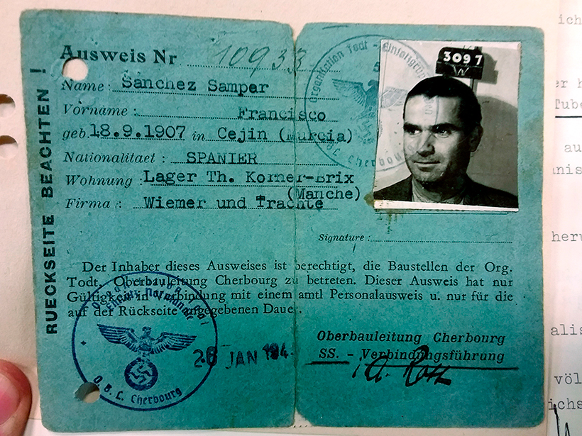 Document of Antonio Samper, Spaniard who worked in a labour camp in France. Source: Indemnification Service for Nazism Victims in Düsseldorf
