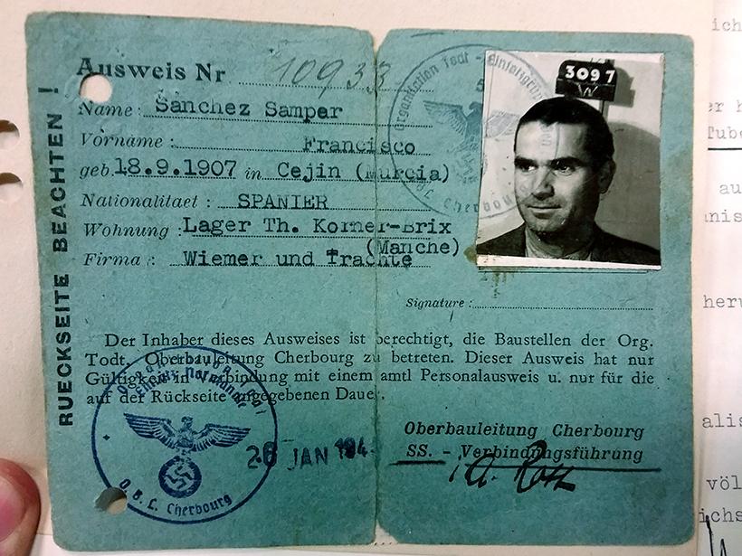 Ficha de Antonio Sánchez Samper, español presente en un campo de trabajo en Francia. Fuente: Servicio de Indemnizaciones a las Víctimas del Nazismo, Düsseldorf.