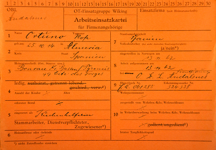 Document of Rosa Ortuño, Spaniard forced labour in Norway. Source: National Archives of Norway